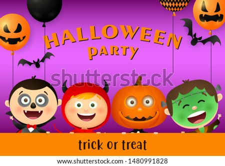 Halloween Party lettering, balloons and kids in monsters masks. Invitation or advertising design. Typed text, calligraphy. For leaflets, brochures, invitations, posters or banners.