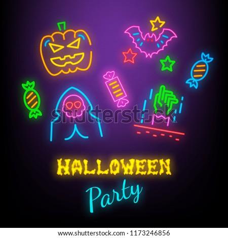 halloween party neon symbols, vector neon glow on dark background