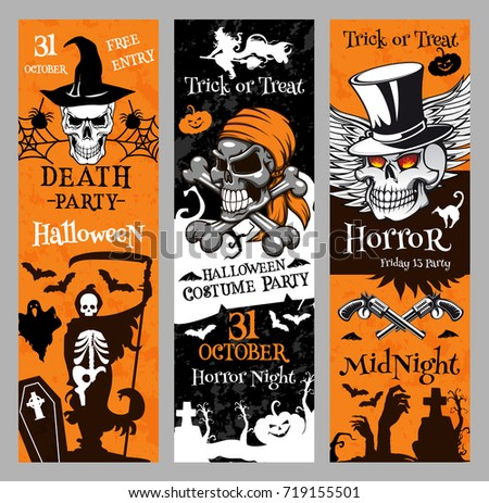 Halloween party night banners templates for 31 October spooky traditional trick or treat holiday celebration. Vector horror design of Halloween pumpkin lantern, skull or witch and black cat on grave.