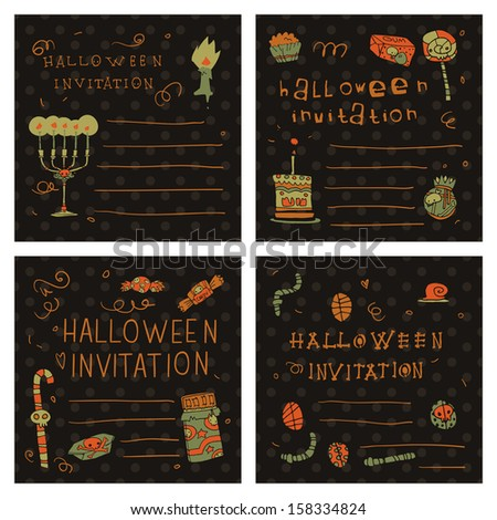 Halloween party postcard invitation. Vector pattern for web page backgrounds, postcards, greeting cards, invitations, pattern fills, surface textures.