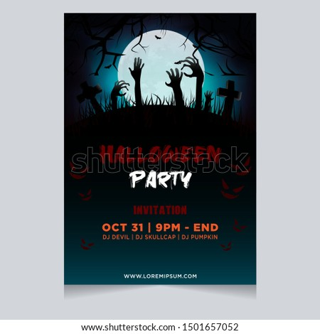 Halloween party poster invitation with spooky zombie hand in graveyard background