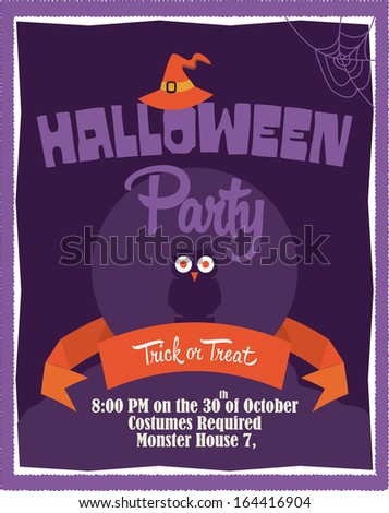 Halloween Party Poster Template - Witch Hat, Owl, Ribbon, Spider ...