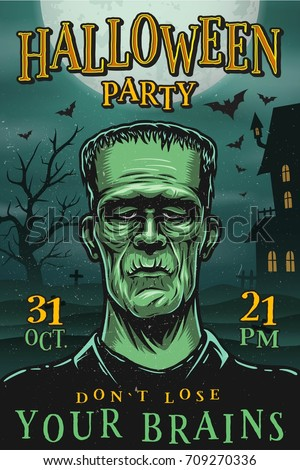 Halloween party poster with monster, zombie, house, tree and bats