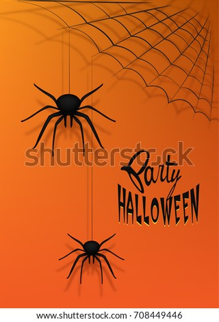 Halloween party poster with origami spiders and spider web. Vector Illustration #708449446
