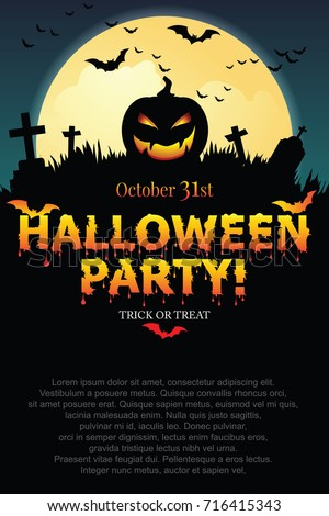 Halloween party poster with Pumpkin ghost.