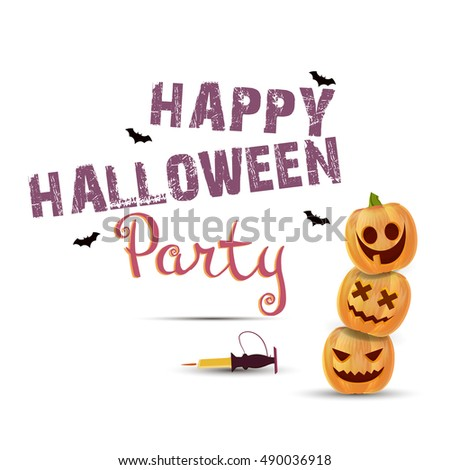 Halloween party poster with pumpkins vector illustration greeting wallpaper. Decoration mystery hat concept holiday symbol, night, template, orange. Graphic event dark treat trick invitation art happy