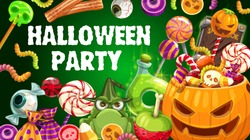 Halloween party pumpkin and trick or treat sweets vector design. Chocolate, skeleton skull and zombie eyeball shaped candies, lollipops, jellies and gummy worms, witch potion, black magic spellbook