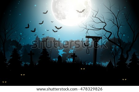 Halloween party scary background .Vector illustration #478329826