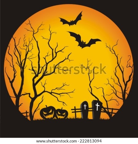 Halloween party scary full moon background, vector illustration