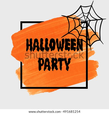 Halloween Party sign text over brush paint abstract background vector illustration. Halloween poster, invitation or banner.