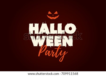 Halloween Party text logo with pumpkin. Editable vector design.