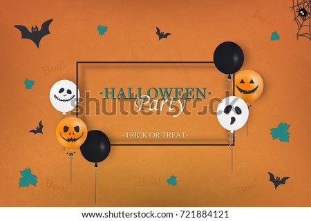 Halloween Party. Trick or treat. Holiday design with colorful balloons, falling leaves,  spider web, flying bats for banner, poster, greeting card, party invitation. vector cartoon illustration.