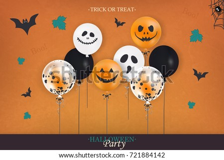 Halloween Party. Trick or treat. Holiday design with halloween colorful balloons, leaves, halloween spider web, halloween bat for banner, poster, greeting card, party invitation. vector illustration.