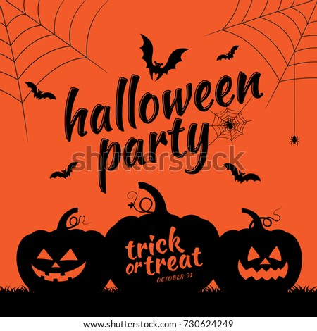 halloween party trick or treat pumpkins bats and spider web on