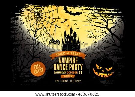 Halloween party. Vampire dance party. Vector illustration
