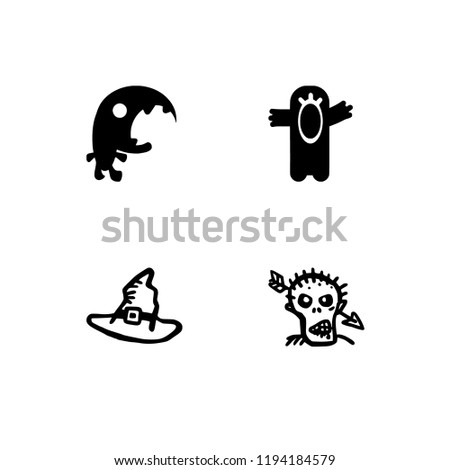 Halloween party with monsters solid filled icon set 10 EPS vector format. Transparent background.