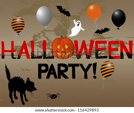 Halloween Party with pumpkin on the grunge background. Vector illustration.