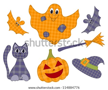 Halloween patchwork set for scrapbooking. Vector holiday illustration.