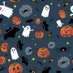 halloween pattern onblue background