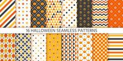 Halloween pattern. Seamless Haloween texture. Vector. Background with pumpkin, polka dot, triangle, star stripe rhombus. Geometric wrapping paper. Retro textile print. Orange yellow black Illustration