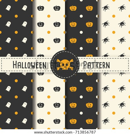Halloween Pattern Set background for Halloween Party night. Seamless Pattern Halloween vector for Holiday with spider and web for banner, poster, greeting card, party invitation illustration.