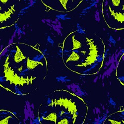 Halloween pattern. Vector seamless abstract background with scary pumpkins, ghosts, bright neon Jack o lantern silhouettes. Grunge style graphic texture. Funny scary design for decor, print, fabric