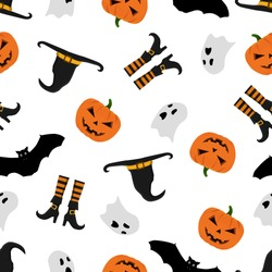 Halloween pattern with pumpkins,bats,ghosts,witch's hat and witch's boots. Halloween background. Seamless pattern design