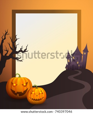 halloween photo frame with old