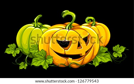 Halloween picture with pumpkins isolated on black. Classic cartoon style.