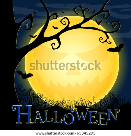 Halloween postcard with an ominous moon, tree and bats. EPS10