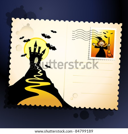 Halloween postcard with castle and witch. Vector background