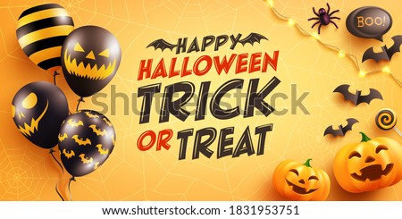 Halloween poster and banner template with cute halloween pumpkin,bat,spider and candy on yellow background. Website spooky,Background or banner Halloween template.Vector illustration.