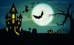 Halloween poster background. Foggy landscape with with bats, big moon, pumpkins, trees and dark castle. Vector illustrator template