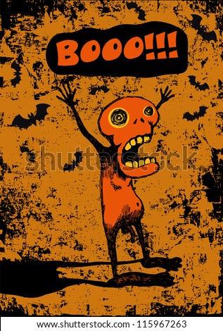 "halloween poster ""boo!"" with screaming weird character. vector illustration"