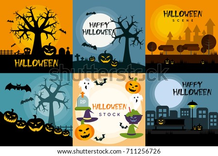 Halloween Poster Design Set