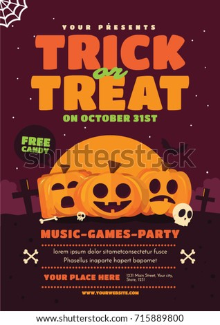 Halloween poster design. Trick or treat vector illustration