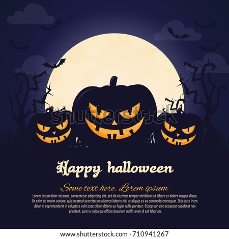 Halloween poster. Invitation for party. Mix of Various Spooky Creatures, Moon. Halloween night vector illustration. Halloween background with scary graveyard. Halloween background