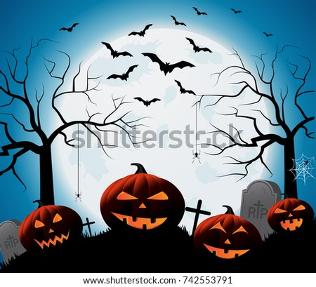 Halloween poster on blue background with smiling pumpkins on graveyard. Vector illustration.