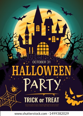 Halloween poster. Scary party invitation flyer template with horror symbols pumpkin bones skull vector halloween background
