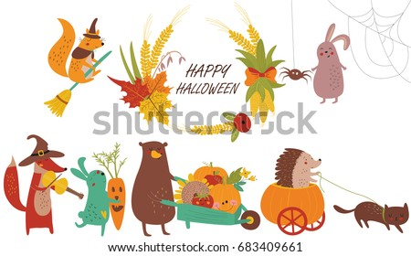 halloween poster with cute