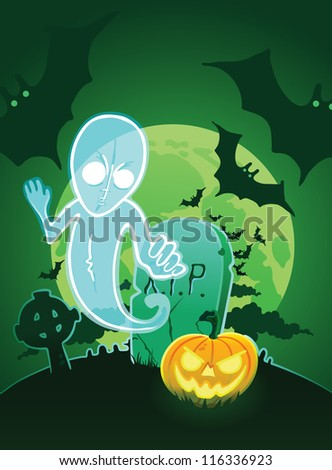 Halloween poster with ghost near grave