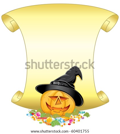 Halloween poster with Jack O Lantern. Illustration with pumpkin bucket, candies, leafs and golden scroll ready for your own text.