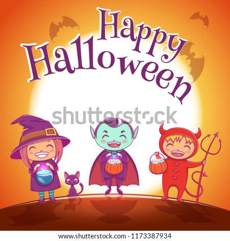 Halloween poster with kids in costumes of witch, vampire and devil for Happy Halloween party. On jrange background with full moon.