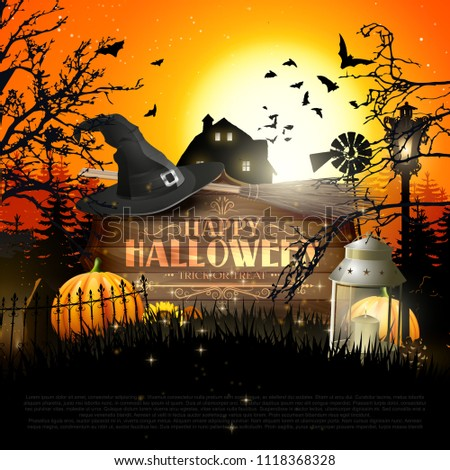 Halloween poster with pumpkins and other traditional Halloween decorations in front of a landscape at sunset.