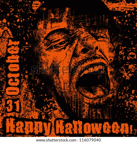 halloween poster with screaming head. vector illustration