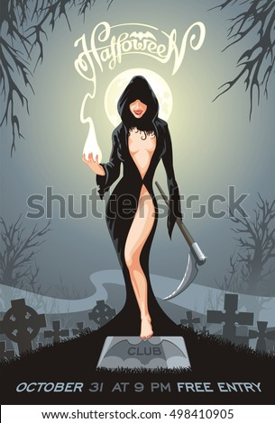 halloween poster with sexy
