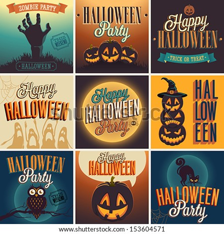 Shutterstock Halloween Posters set. Vector illustration.