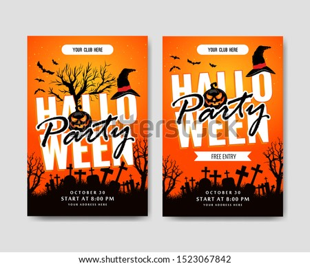 Halloween posters with cool and horror designs. Hallowen party and halloween day Stock photo ©