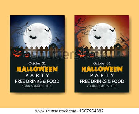 Halloween posters with cool and horror designs. Hallowen Templet party Stock photo ©