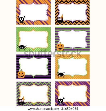 halloween printable labels setphoto frame gift tagsinvitation - Halloween Gift Tag